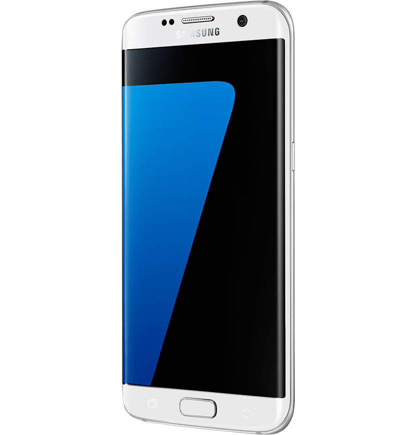 Angled side view of white pearl Galaxy S7 edge from right.