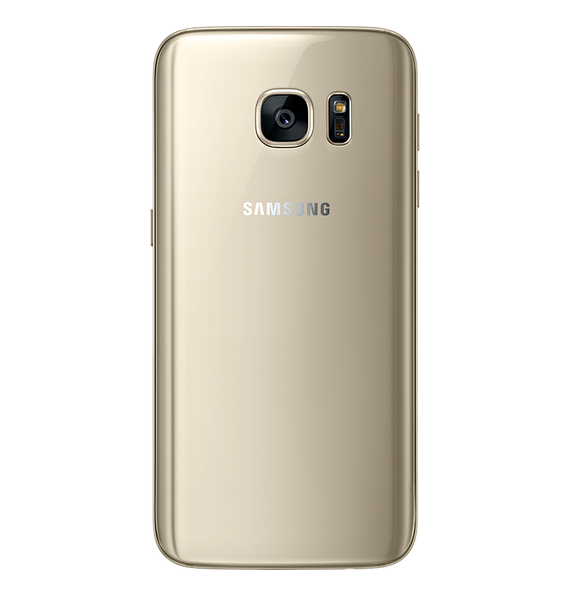 Back view of gold platinum Galaxy S7