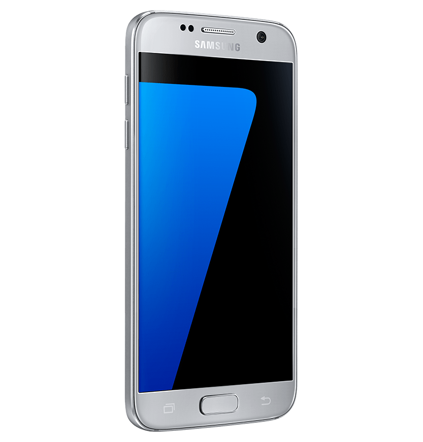 Angled side view of silver titanium Galaxy S7 from left