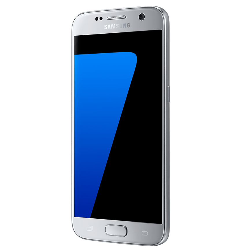 Angled side view of silver titanium Galaxy S7 from right