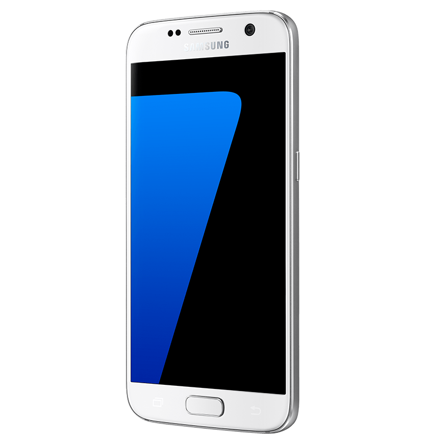 Angled side view of white pearl Galaxy S7 from right