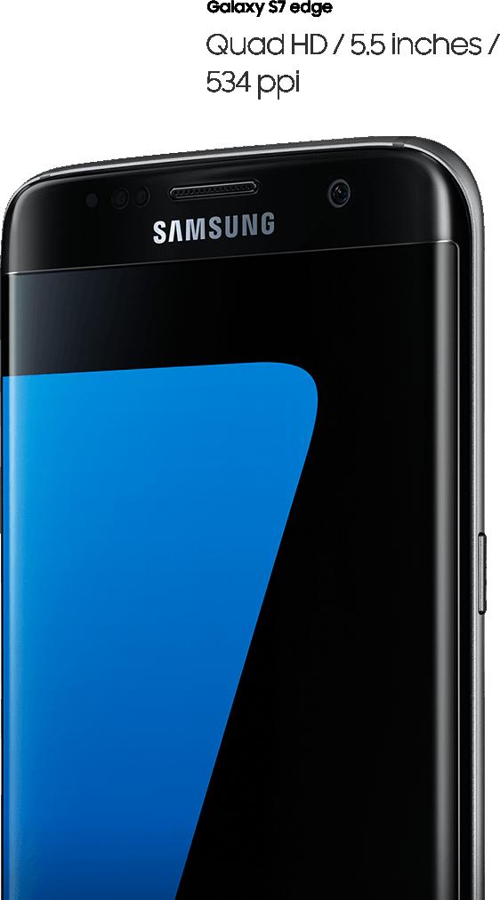 Afbeelding van galaxy s7 edge bekeken vanaf rechterkant