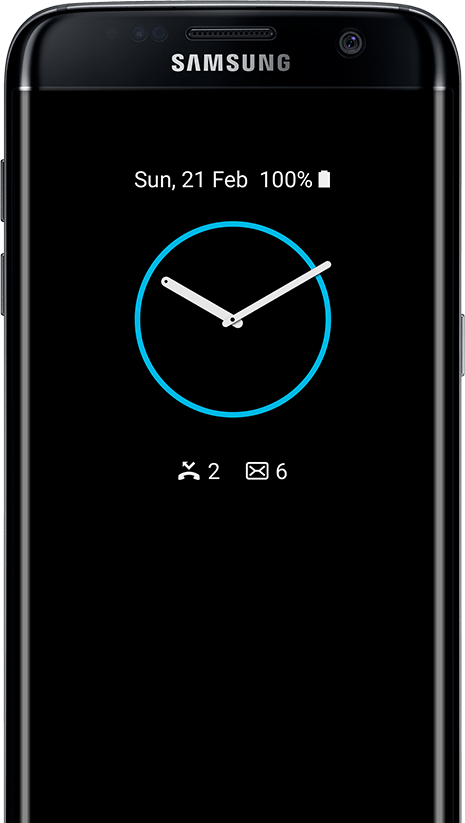 Tipo de reloj AOD en galaxy s7 edge screen