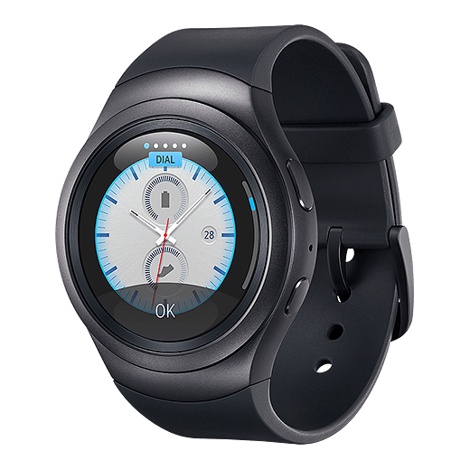 An image showing the Gear 2 with a modern utility watch face.