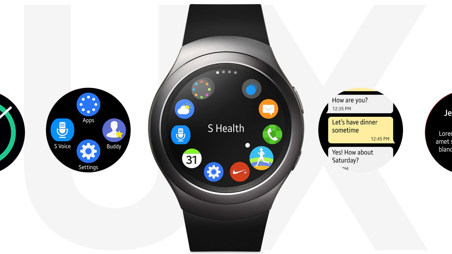 Animation of navigating Gear S2 by rotating the Bezel