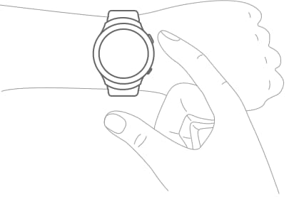 An illustration showing a user pressing the Gear 2's home button.