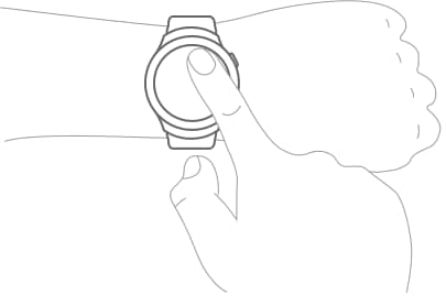 An illustration showing a user operating the Gear S2's touchscreen.