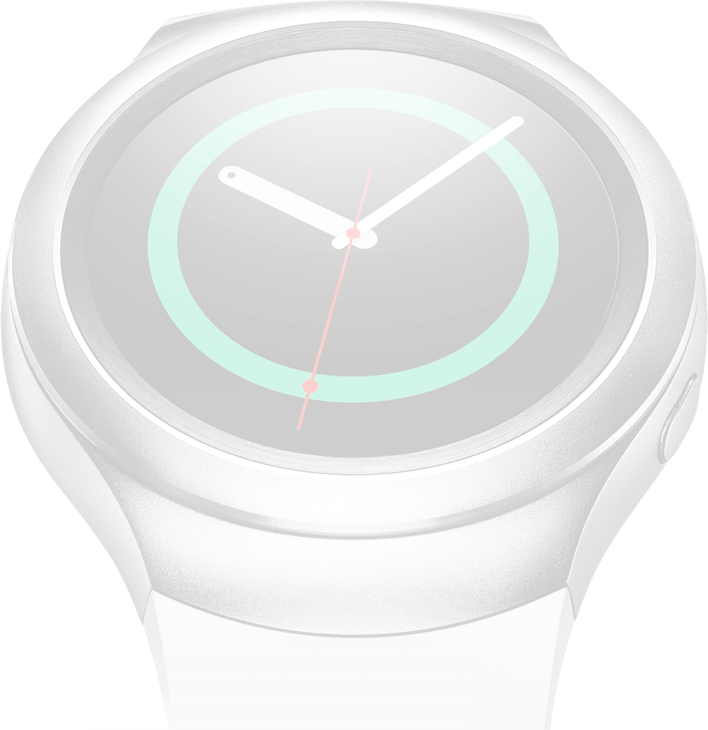 Dimmed image of silver Gear S2 on right