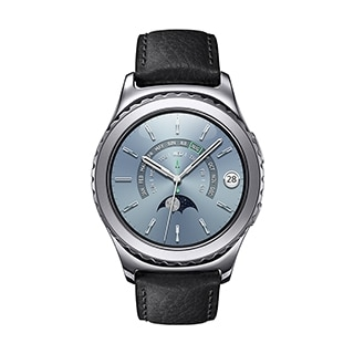 An front-on image of a Gear S2 Platinum Version.