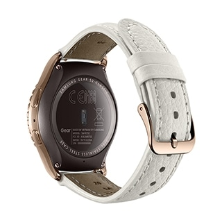 An rear/side-on view of a Gear S2 Rose Gold Version.