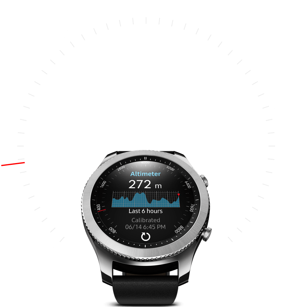 Gear S3 with altimeter on watch face