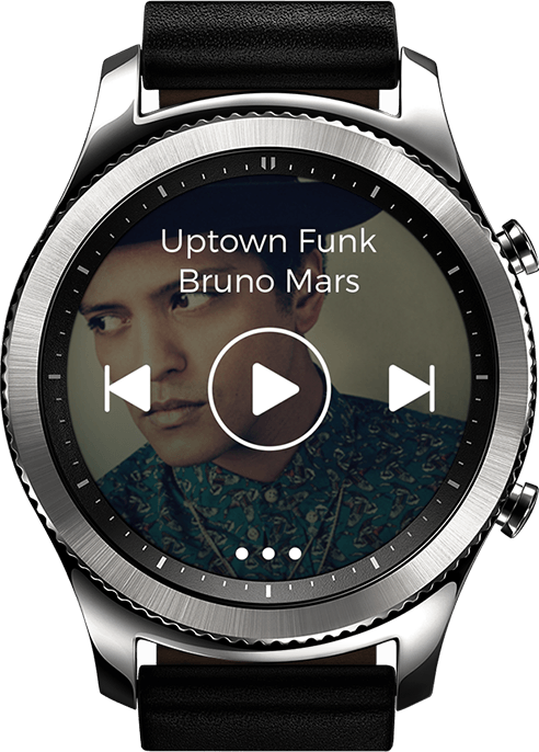 Gear s3 and icon x with illustration of music being played