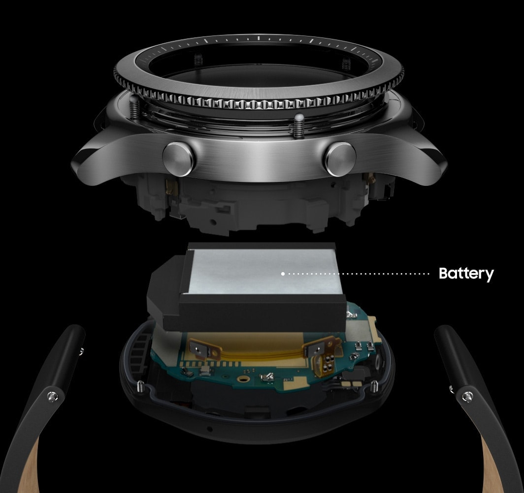Battery with deconstucted image of Gear S3