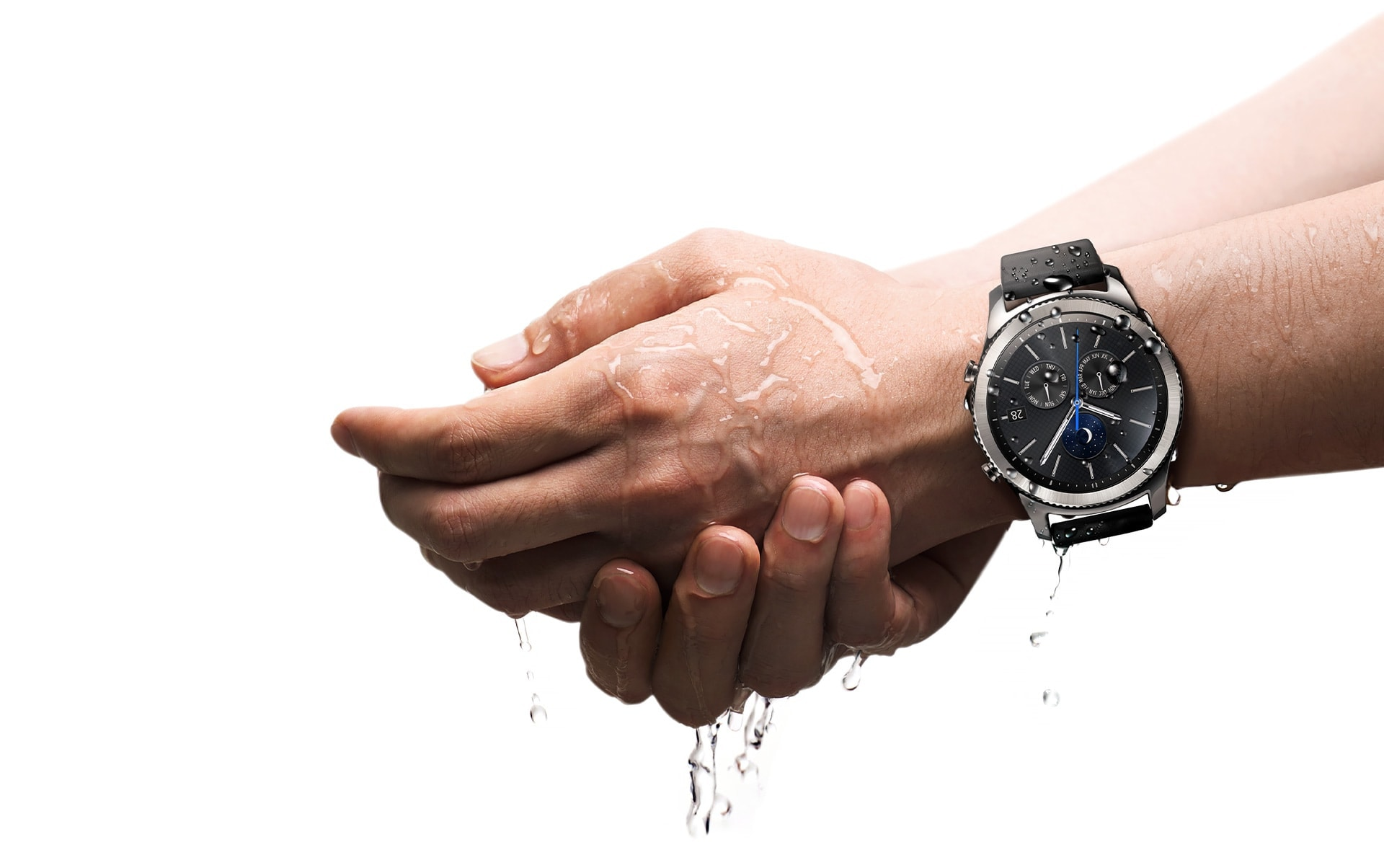 Image of a person washing hands while wearing Gear S3