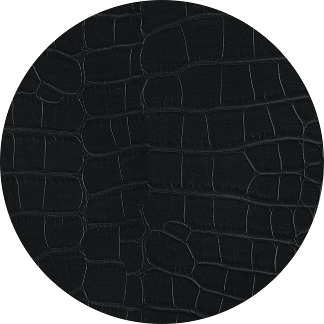 Sample of the Alligator Grain Leather Band material in black