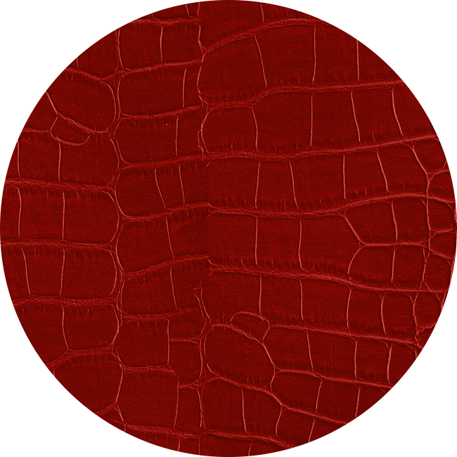 Sample of the Alligator Grain Leather Band material in red