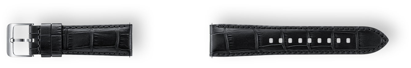 Alligator Grain Leather Band material in black