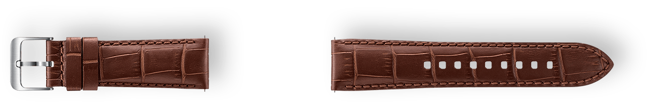 Alligator Grain Leather Band material in brown