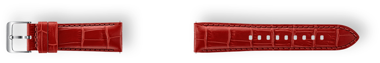 Alligator Grain Leather Band material in red