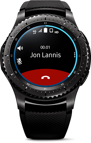 Gear S3 Frontier shown with call interface on watch face