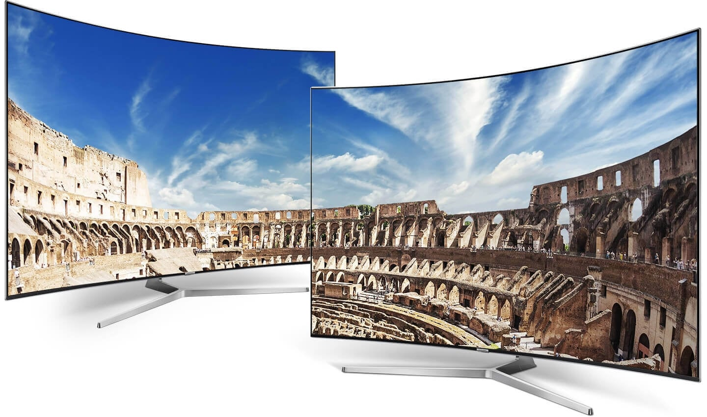 Two curved Samsung TVs are standing and an amphitheatre image is on a TV screen.