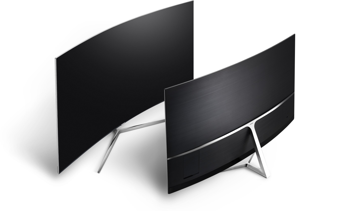 Two curved Samsung TVs are facing each other and one shows streamlined clean back design.