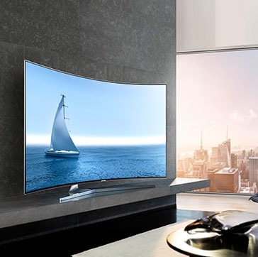 see large image of left perspective image of TV in a living room with sails onscreen.