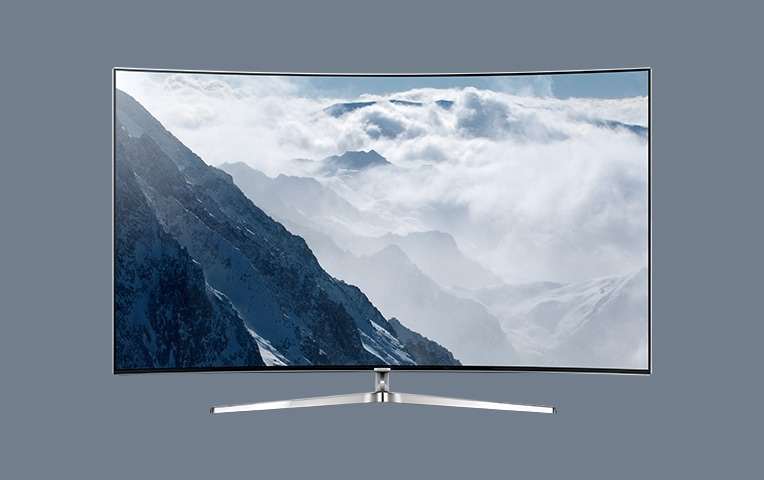 see large image of front image of TV with blue on screen.
