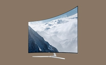 see large image of left perspective image of TV brown back ground color.