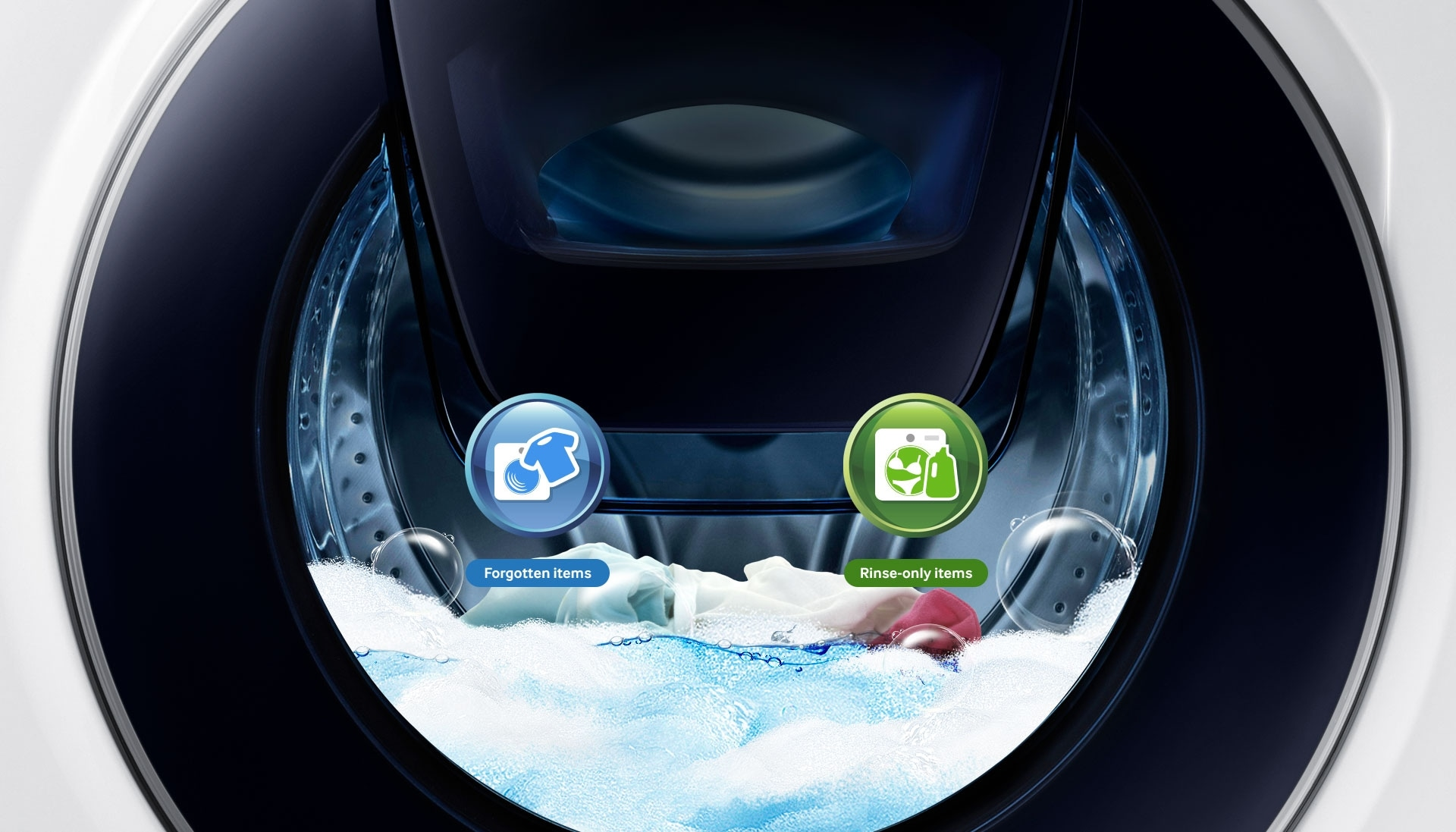 An image showing the WW6500's drum, as well as icons representing items the user has forgotten to add to the wash, and rinse-only items and fabric softener – all of which can be added via the Add Door.