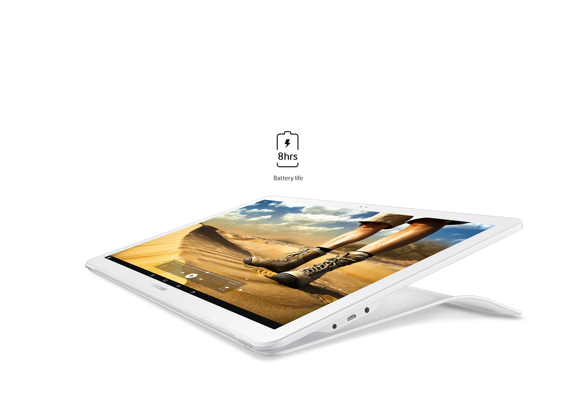 An image and a battery icon showing how the Galaxy View can be used for up to eight hours.