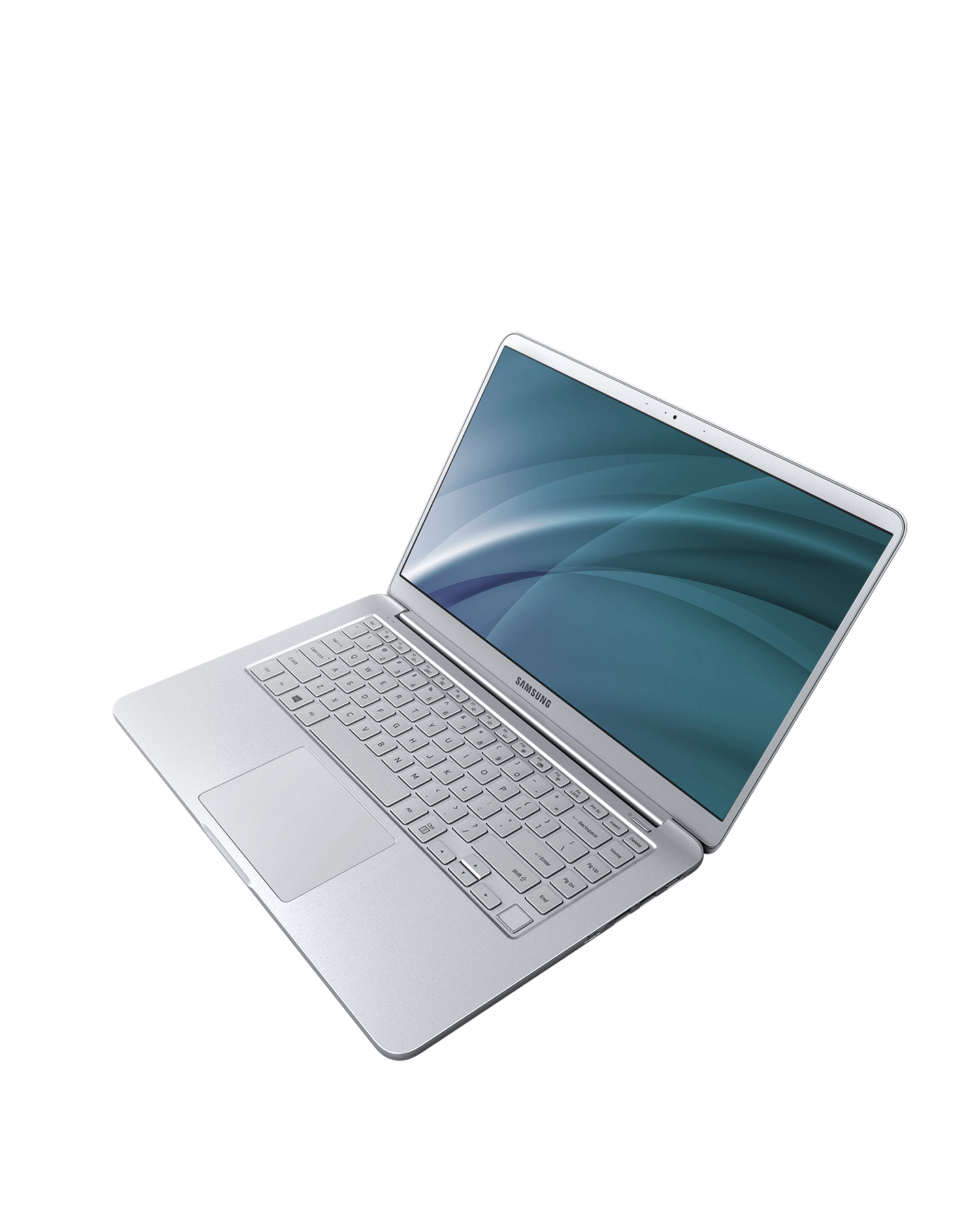 An image showing the notebook 9's thickness from 14.9mm and its weight: 2.17lbs or 980g and An image showing a silver and white Notebook 9 device, suspended in mid-air to show that it is super-light