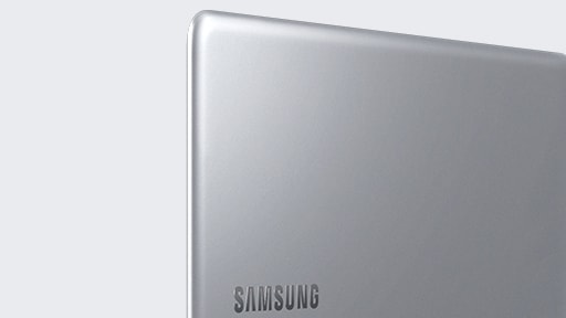 A magnified image of the left side of the Notebook 9 device's upper part, with its cover showing, open fully, with the Samsung logo visible.