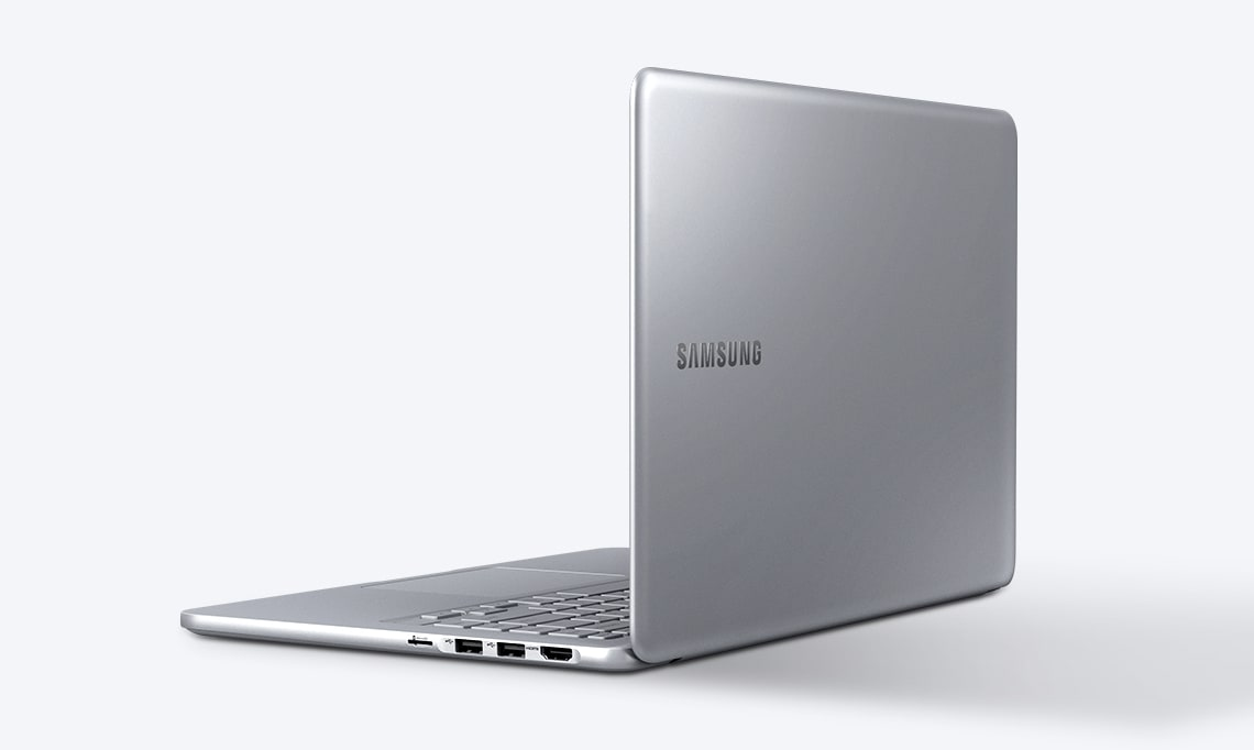 An image showing the Notebook 9 device's side, with its cover showing, open fully, with the Samsung logo visible on the top