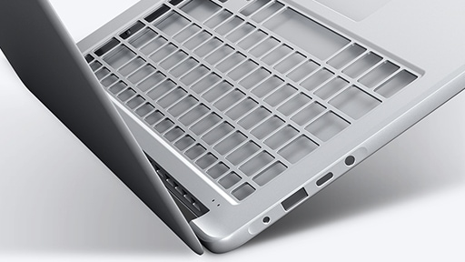 An image showing the Notebook 9's cover open with its keyboard and palm rest frame magnified.