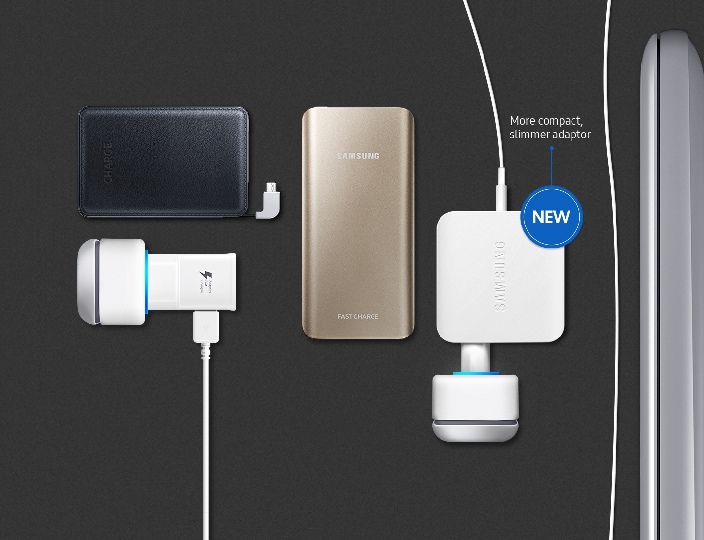 "An image showing the Notebook 9's side and a charging cable connected to a multi-outlet adapter, as well as a portable phone battery and charger. An icon that reads ""new"" visible, with the text― more compact, slimmer adapter."
