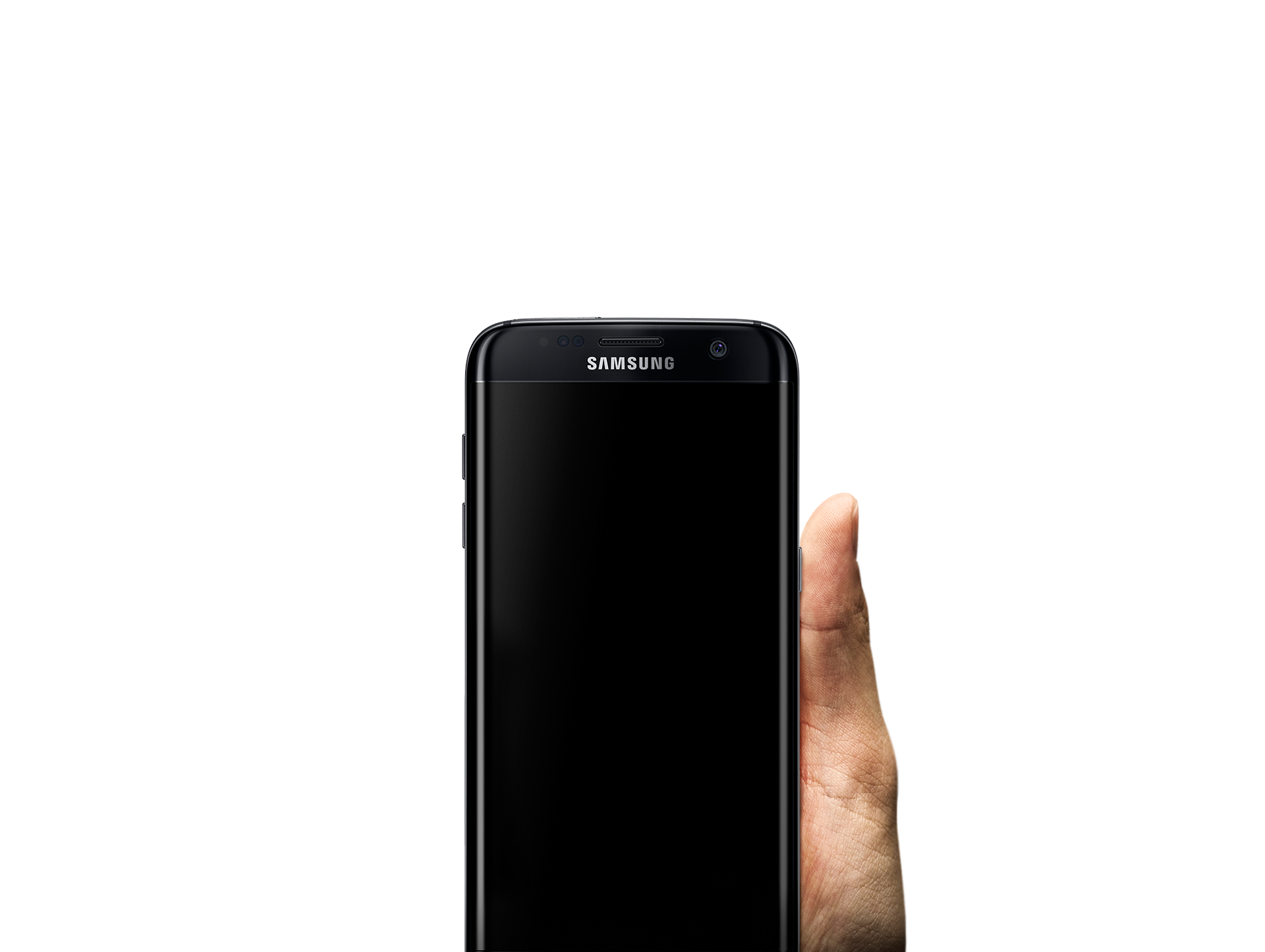 Hand holding up galaxy s7 edge against high contrast background image.
