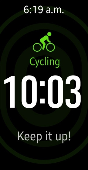 Gear Fit2 tracking cycling with auto tracking mode and showing time and motivational message on display