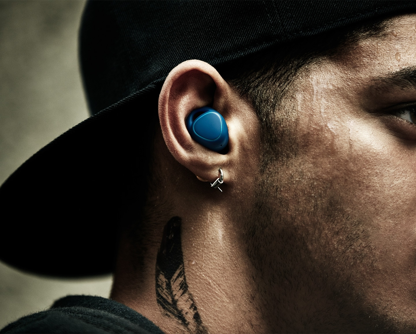 Man running outside with Gear IconX in his ears