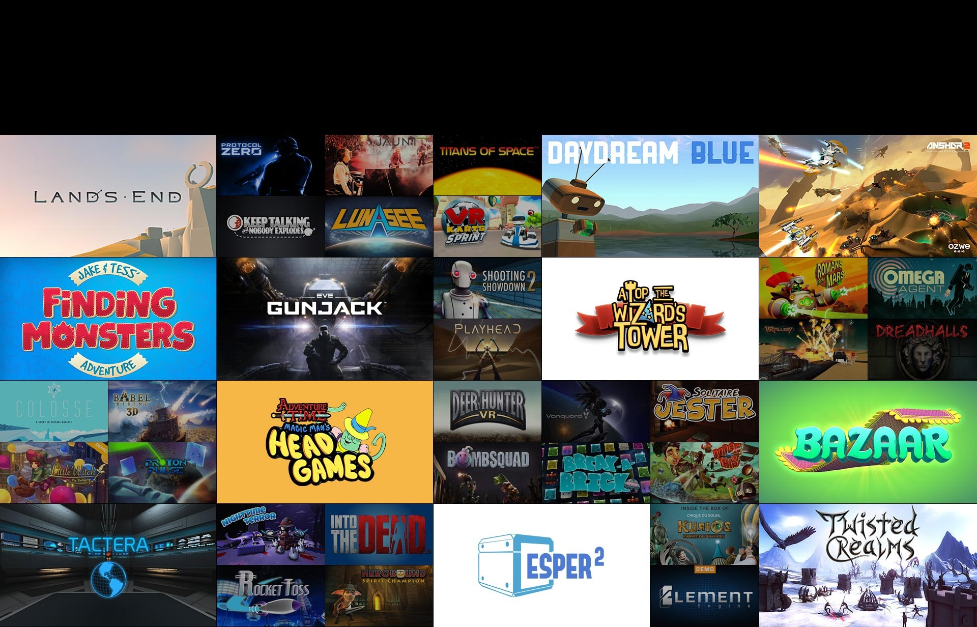 An image showing some of the games available for the Gear VR.