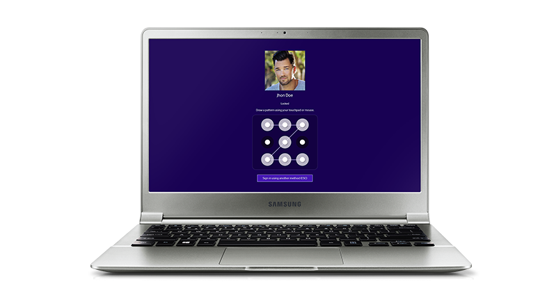 An image showing the Samsung Notebook 9's Pattern Login function.