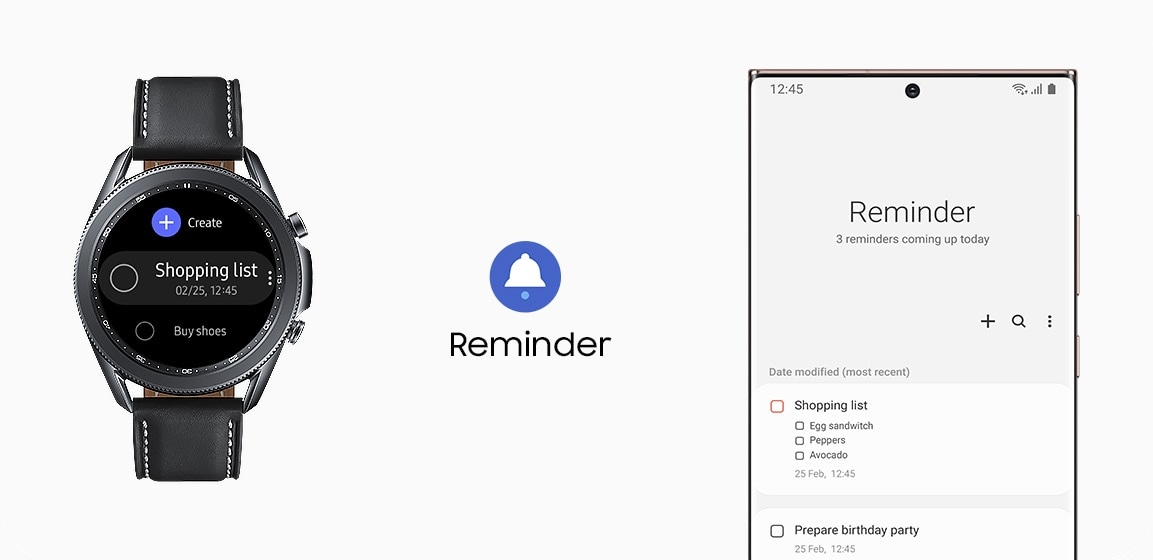 45mm Galaxy Watch3 in Mystic Black is connected to a Galaxy smartphone showing Reminder GUI.