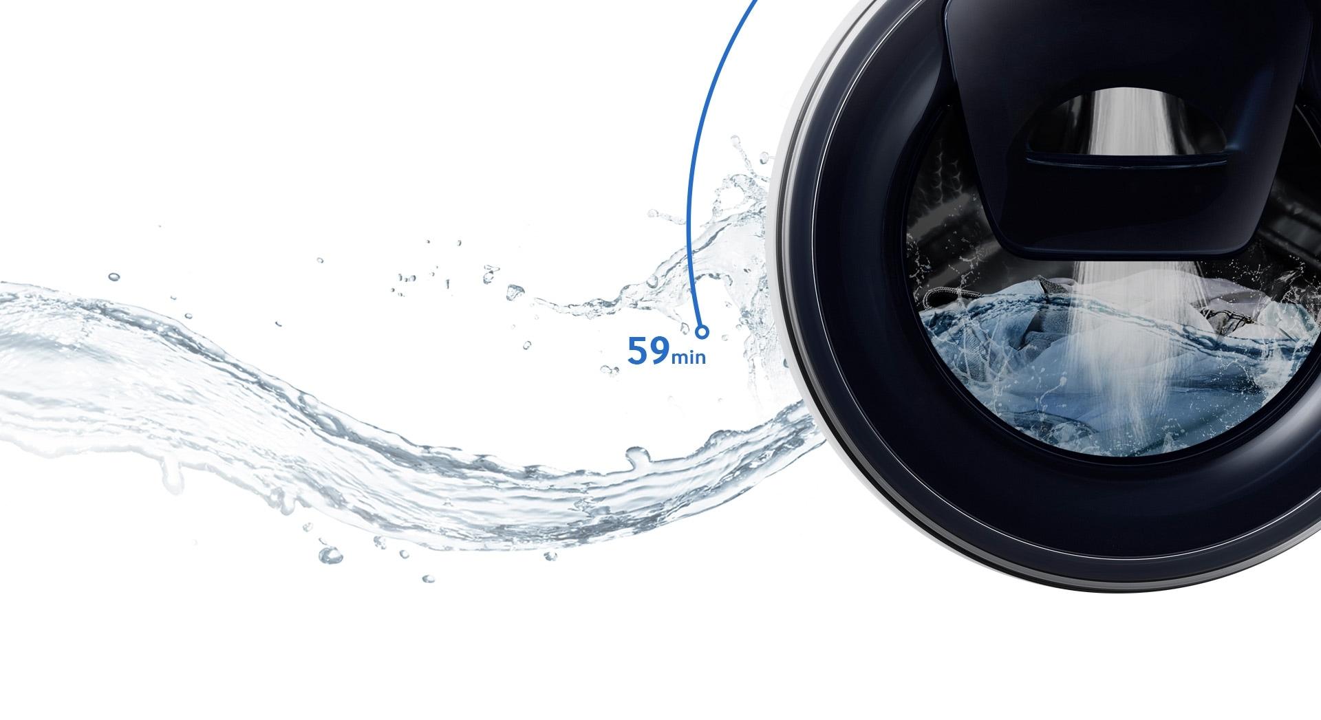 Image montrant que l'intégralité du cycle de lavage - lavage, rinçage et séchage inclus - dure 59 minutes au total.