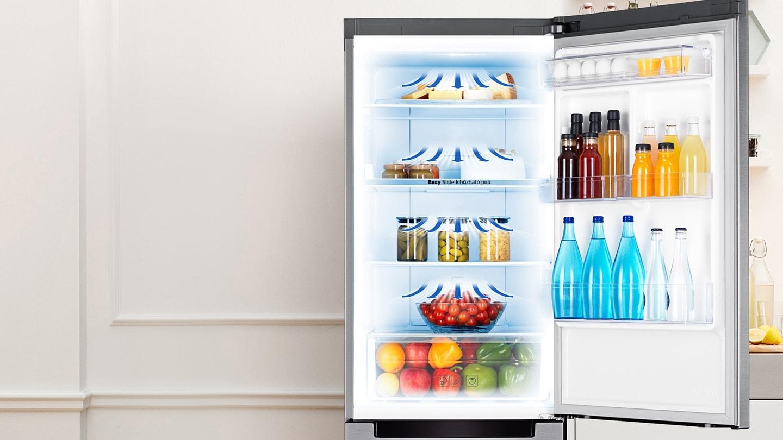 Samsung Fehér Kombinált Hűtő: az All-Around Cooling Körkörös hűtés minden sarokban egyenletesen hűt