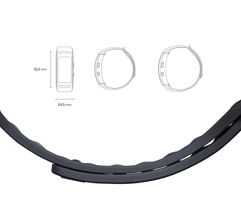 Egy 51,2 mm × 24,5 mm méretű Gear Fit2 elölről és oldalról kis méretben és egy nagy méretű karkötő a pánt közelképével
