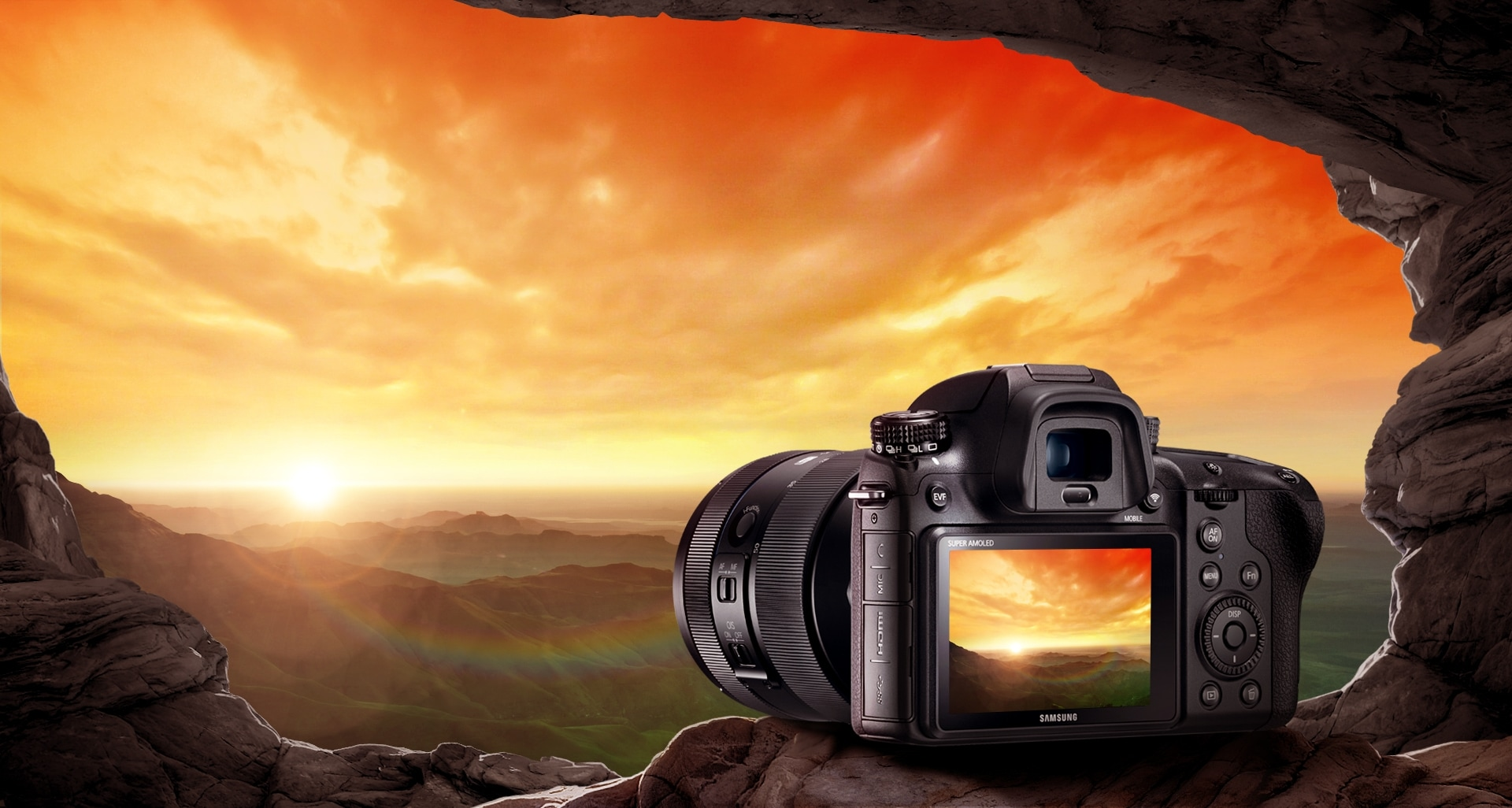 Beautiful landscape scenery of a sunset is being shown through the NX1's AMOLED Tilt Display.