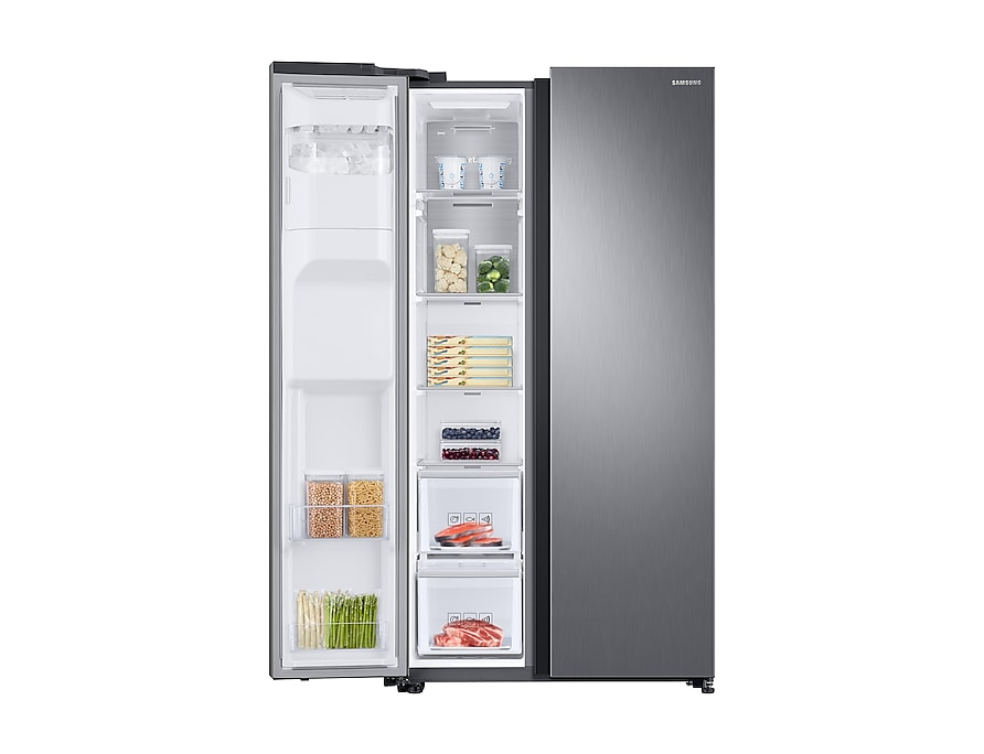 RS68N8240S9/EU Front-Left-Door-Open-With-Food_Silver