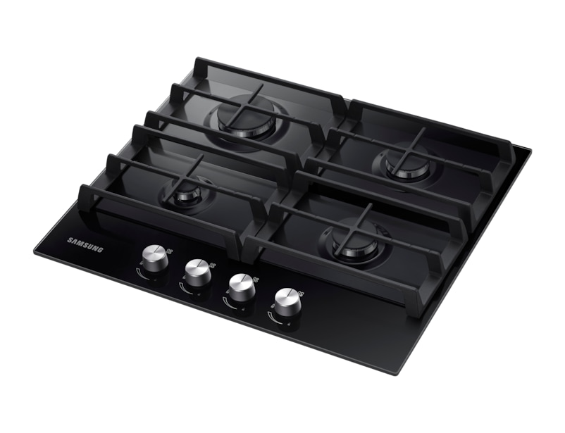 Gas Hob Black Glass R Perspective