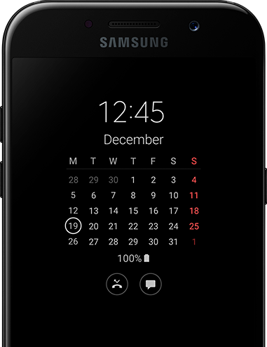 View the date and time in an instant on the Galaxy A5 with Always on Display.