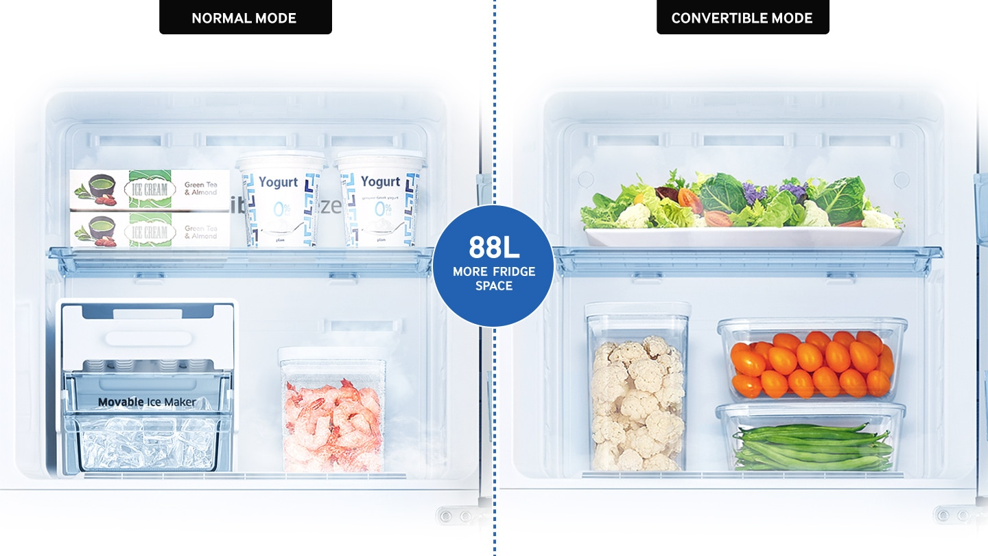 Samsung Top Mount Refrigerator - Convertible freezer (88 litre more space)